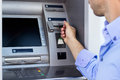 Man using a ATM Royalty Free Stock Photo