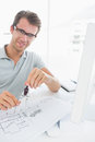 Man using compass on design Royalty Free Stock Photo