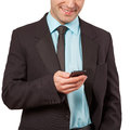 Man using mobile smart phone close up of a Royalty Free Stock Image