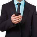 Man using mobile smart phone close up of a Royalty Free Stock Photo