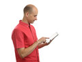 Man using a tablet pc young Stock Photos