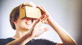 Man using a virtual reality headset blond Royalty Free Stock Images