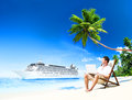 Man Vacation Working Summer Beach Concept Royalty Free Stock Photo