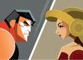 Man versus woman. Danger Conflict. Superheroes.