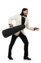 The man with violin case on whtie Royalty Free Stock Photo