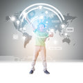 Man virtual reality futuristic operating system environment Royalty Free Stock Images