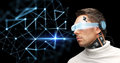 Man in virtual reality glasses and microchip