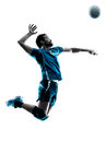 Man volleyball  jumping silhouette Royalty Free Stock Photo