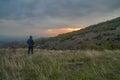 Man waiting the sunrise Royalty Free Stock Photo