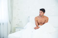 Man wakeup in the morning portrait of a young at home Royalty Free Stock Photo