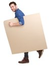 Man walking with blank sign full length portrait of a handsome young poster Stock Photo