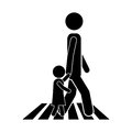 Man walking with boy icon in street Royalty Free Stock Photo