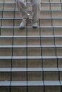 Man walking down stairs Royalty Free Stock Photo