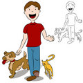 Man Walking With His Pets in The Park Royalty Free Stock Photo