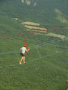 Man walking on a rope at ai petri summit crimea peninsula ukraine Stock Photos