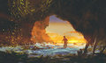 The man walking in the sea cave at sunset