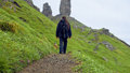 Man walking to the Old man of Storr Royalty Free Stock Photo