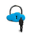 Man walking toward cloud shape lock