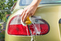 Man washing his car close up of a Stock Photos