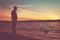 Man watching sunset Royalty Free Stock Photo