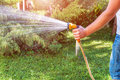 Man with water hose Royalty Free Stock Photo