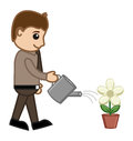 Man watering a plant vector concept conceptual drawing art of young cartoon to flower illustration Stock Photos