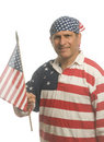 Man wearing American flag shirt Royalty Free Stock Photography