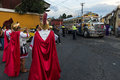 Man wearing ancient Roman military clothes in a procession during the Easter celebrations, in the Holy Week, in Antigua, Guatemala