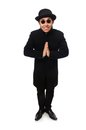 Man wearing black coat isolated on white Royalty Free Stock Photo