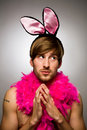 Man wearing bunny ears Royalty Free Stock Photo