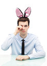 Man wearing bunny ears young Royalty Free Stock Images