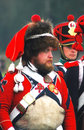 A man wearing a fur hat unknown soldier and colorful vintage military uniform at borodino historical reenactment battle at its th Stock Images