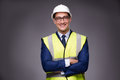 The man wearing hard hat and construction vest Royalty Free Stock Photo