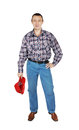 Man wearing jeans and a plaid shirt with red cap isolated on white background Royalty Free Stock Photo