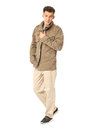 A man wearing khaki german military jacket isolated Royalty Free Stock Photo