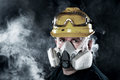 Man wearing respirator Stock Photography
