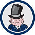 Man wearing top hat smiling circle cartoon illustration of a a viewed from front set inside on isolated background done in style Royalty Free Stock Photography