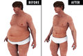 Man weight loss body transform before and after a fat heavy a strong fit he loosing the fat transformation Stock Photography