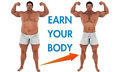 Man weight loss body transform motivation a fat heavy and a strong fit after he loosing the fat a arrow showing the transformation Stock Images