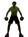 Man weights training exercises strong like hulk one topless muscular exercising body building in silhouettes on white background Royalty Free Stock Photography