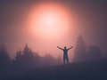 Man welcomes early morning. Instagram stylization Royalty Free Stock Photo