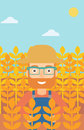 Man in wheat field. Royalty Free Stock Photo