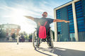 Man on wheel chair Royalty Free Stock Photo