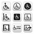 Man on wheelchair disabled emergency exit buttons set disability isolated white Royalty Free Stock Photos