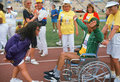 Man in wheelchair at Special Olympics Stock Photos