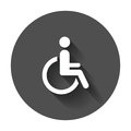 Man in wheelchair vector icon. Handicapped invalid people sign i