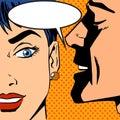 Man whispers girl Pop art vintage comic