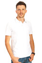 Man in white blank t shirt young posing isolated on background Royalty Free Stock Photography