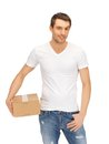 Man in white shirt with parsel handsome Royalty Free Stock Photos