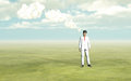 Man with white thought clouds d Stock Photography